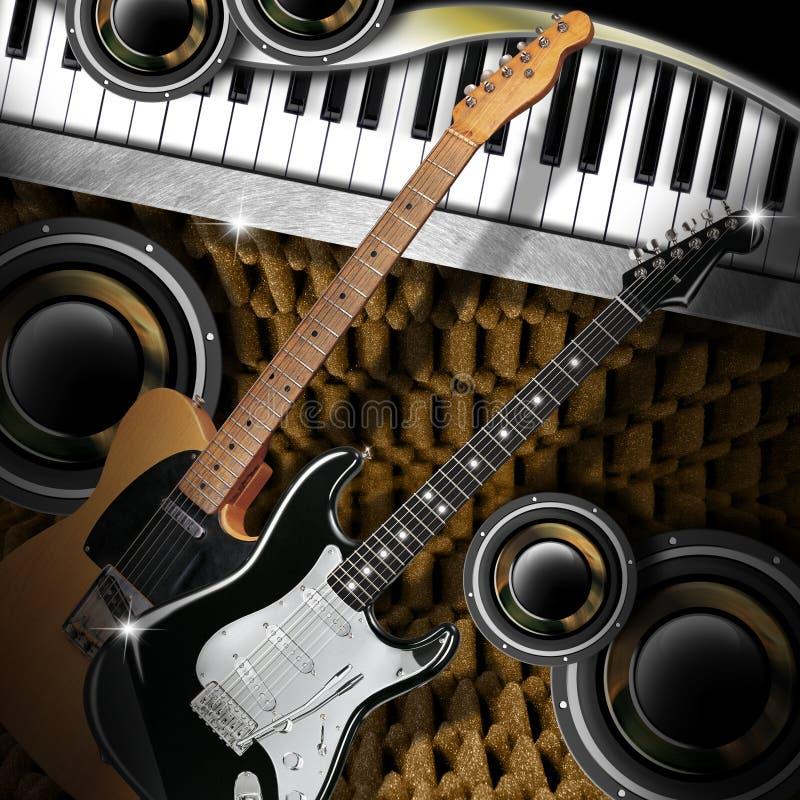 GitarrWoofers och piano royaltyfri illustrationer