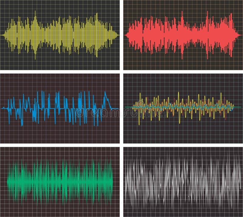 Musikbakgrunder av den ljudsignal pulsen för solida vågor stock illustrationer