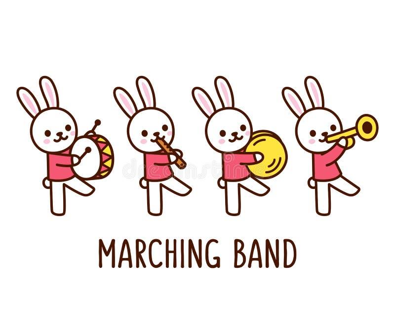 Musikband för tecknad filmkaninmarsch stock illustrationer