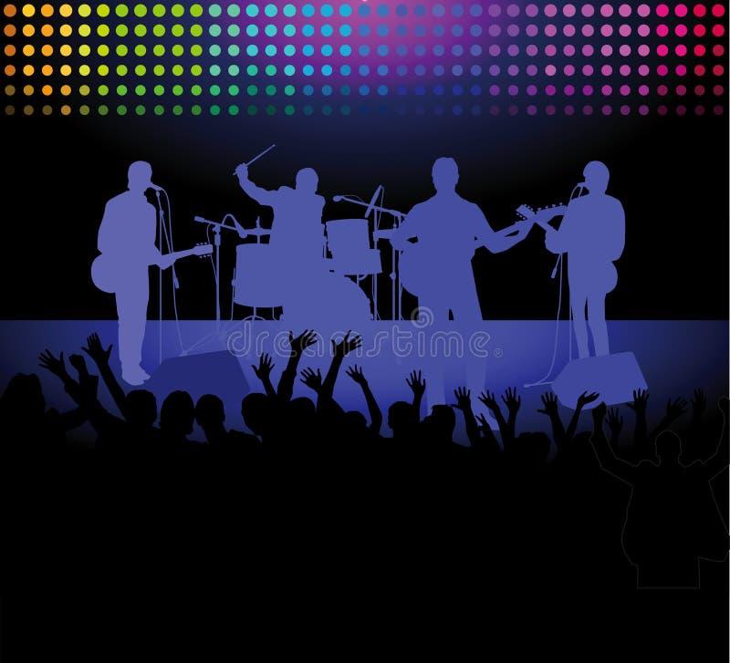 Musikband och folkmassa på en vaggakonsert vektor illustrationer