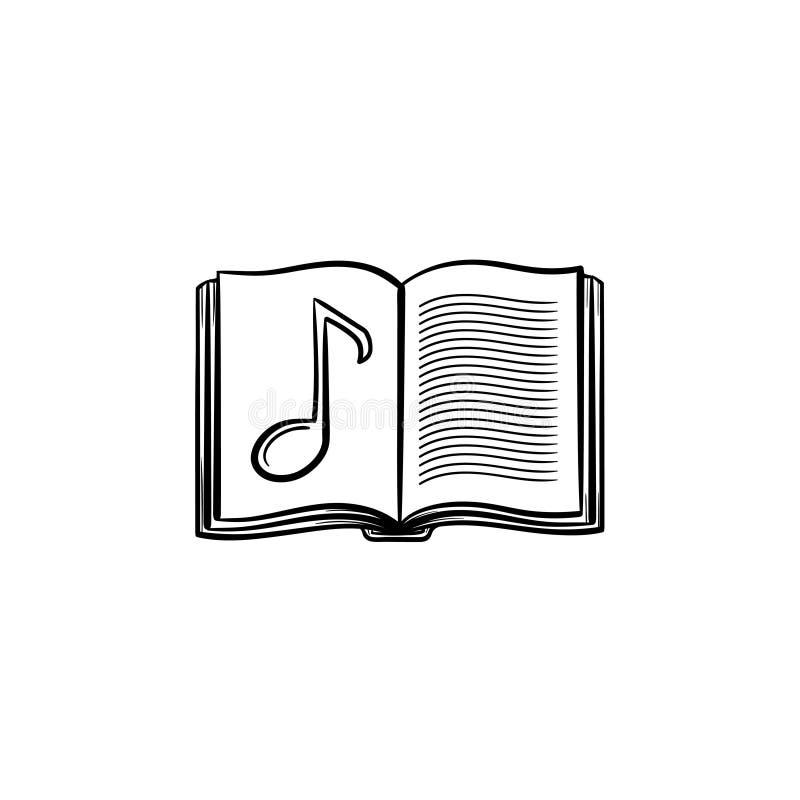 Musikboken med den drog anmärkningshanden skissar symbolen vektor illustrationer