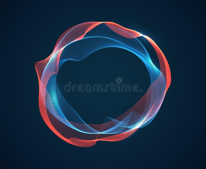 Musikcirkelvåg Solida taktkrusningar sänder ut våghögvatten Linjer för musikspektrumneon Abstrakt begrepp för Digital ljudsignalt royaltyfri illustrationer