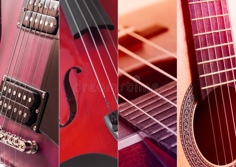 Musikcollage Collage von Fotos der abgetönten blauen Gitarre und des Amperes stockbild