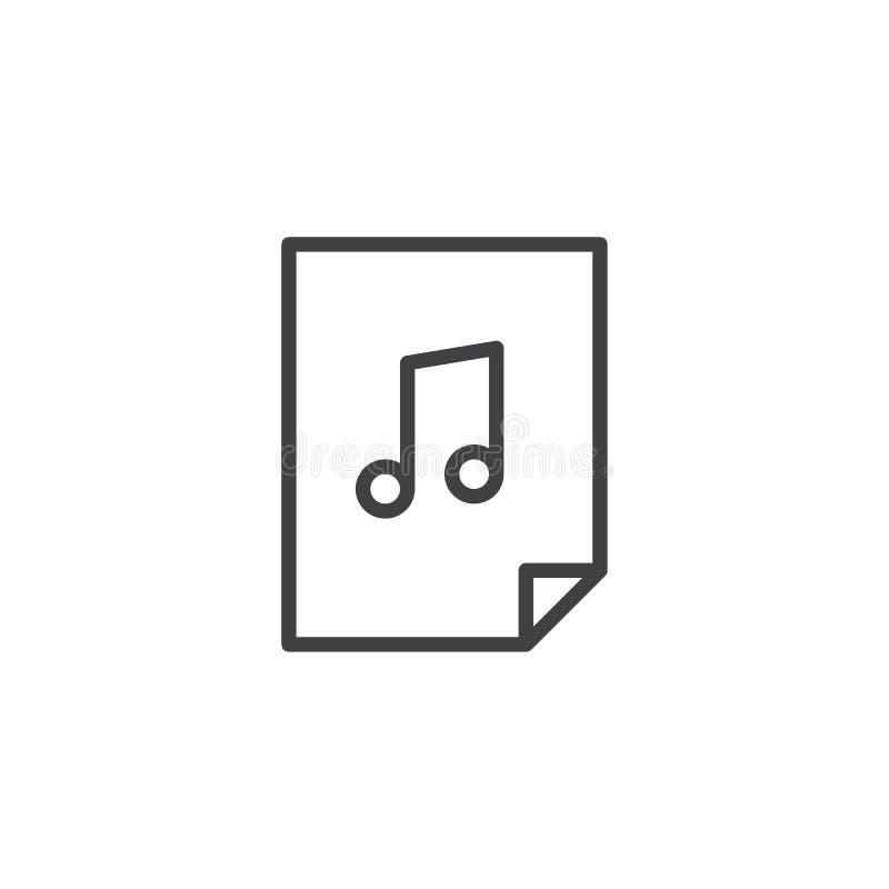 Musikdateilinie Ikone lizenzfreie abbildung