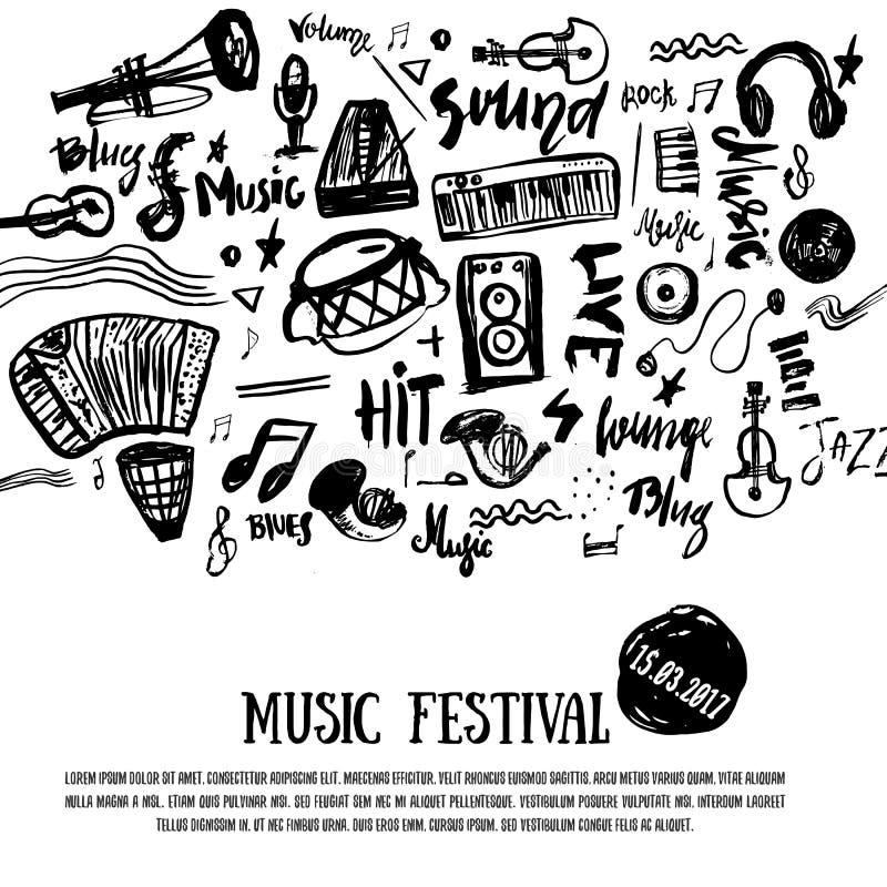 Musikelemente Grunge Musikalhintergrund Auch im corel abgehobenen Betrag Symbole der schwarzen Noten für Musikfestival backgraund lizenzfreie abbildung