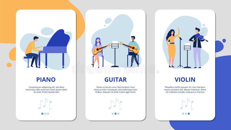 Musikens mobilappsidor Piano violin guitar vocal vetor-konceptet Flata musiker och sångare, banderoller för musikinstrument vektor illustrationer