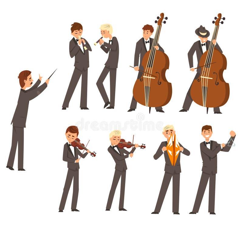 Musiker av den symphonic orkesteren och ledaren, folk som spelar den olika musikinstrumentvektorillustrationen på a vektor illustrationer