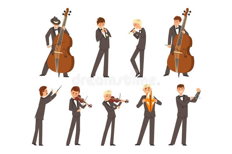 Musiker av den symphonic orkesteren och ledaren, folk som spelar den olika musikinstrumentvektorillustrationen p? a stock illustrationer