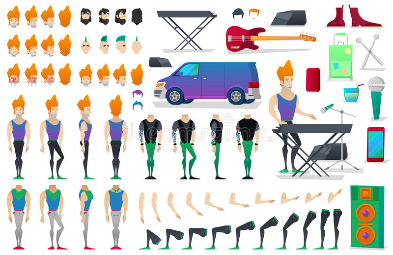Musiker Character Creation Constructor mannen i olikt poserar Manlig person med framsidor, armar, ben, frisyrer vektor illustrationer
