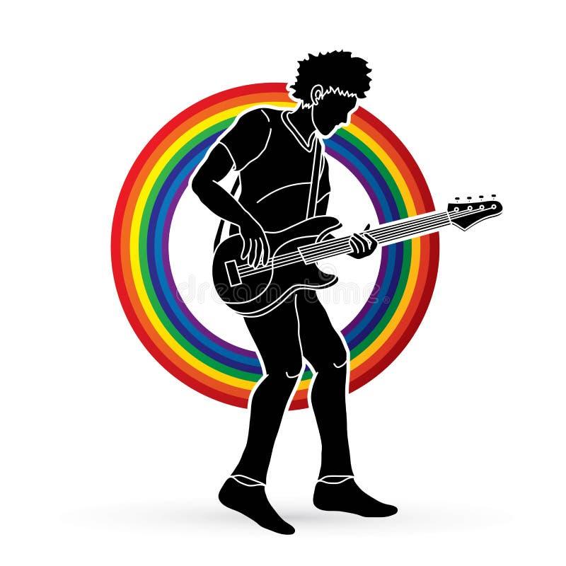 Musiker, der Baß, Musikband spielt stock abbildung