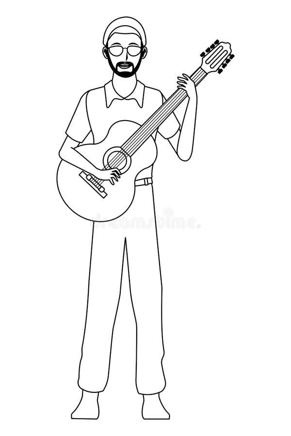 Musiker, der die Gitarre Schwarzweiss spielt stock abbildung