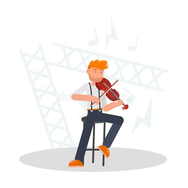 Musiker, der die Violinenfarbflache Illustration spielt lizenzfreie abbildung