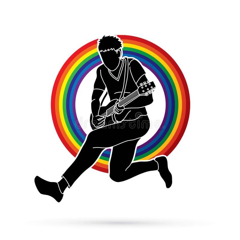 Musiker, der E-Gitarre, Musikbandgraphik spielt vektor abbildung