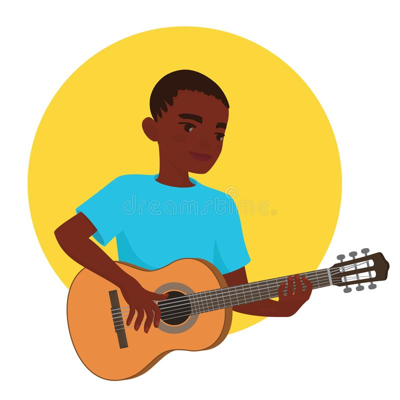 Musiker, der Gitarre spielt Afrikanischer Jungengitarrist wird angespornt, ein klassisches Musikinstrument zu spielen Auch im cor lizenzfreie abbildung