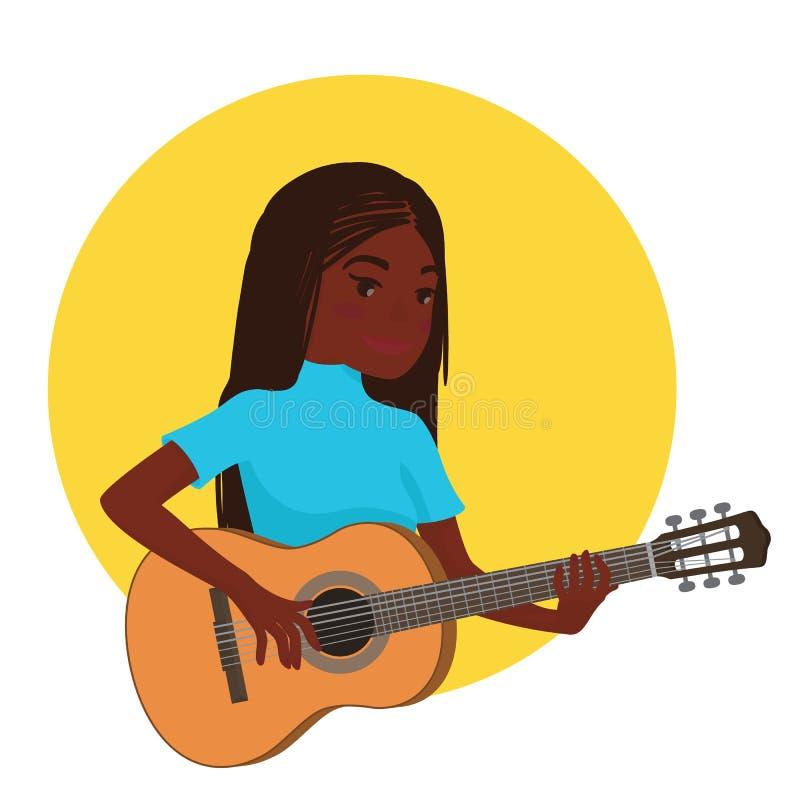 Musiker, der Gitarre spielt Afrikanischer Mädchengitarrist wird angespornt, ein klassisches Musikinstrument zu spielen Auch im co lizenzfreie abbildung