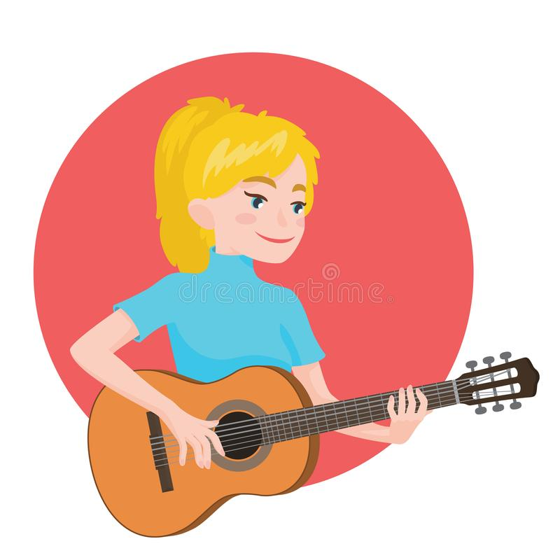 Musiker, der Gitarre spielt Blonder Mädchengitarrist wird angespornt, ein klassisches Musikinstrument zu spielen Auch im corel ab lizenzfreie abbildung
