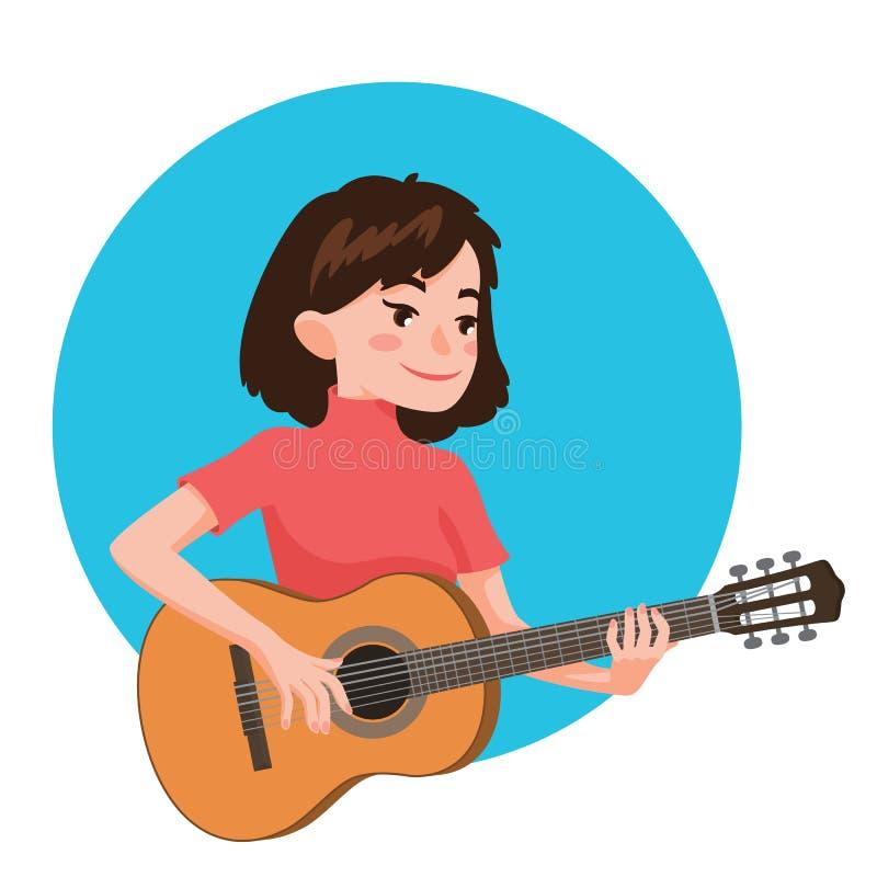 Musiker, der Gitarre spielt Mädchengitarrist wird angespornt, ein klassisches Musikinstrument zu spielen Vektorillustration in de lizenzfreie abbildung