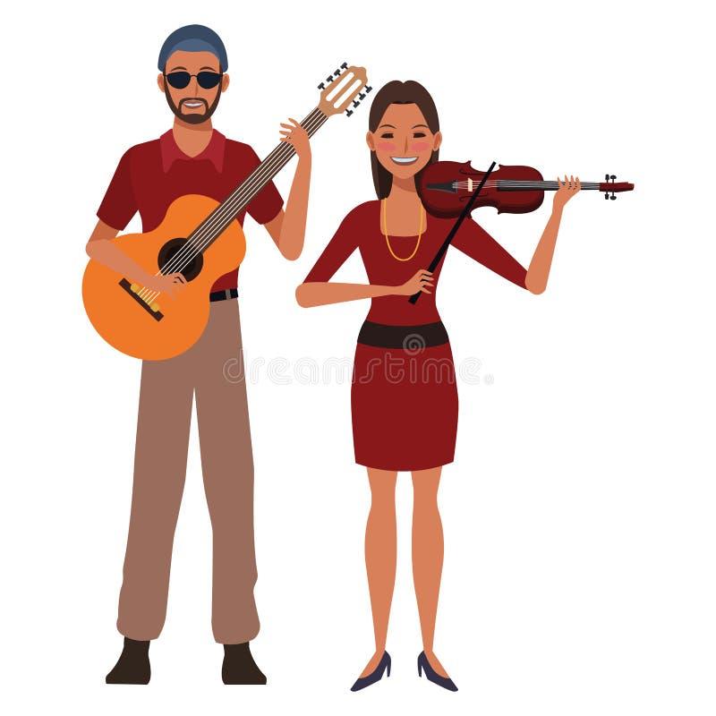 Musiker, der Gitarre und Violine spielt lizenzfreie abbildung