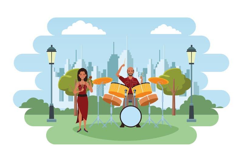 Musiker, der maracas und Trommeln spielt lizenzfreie abbildung