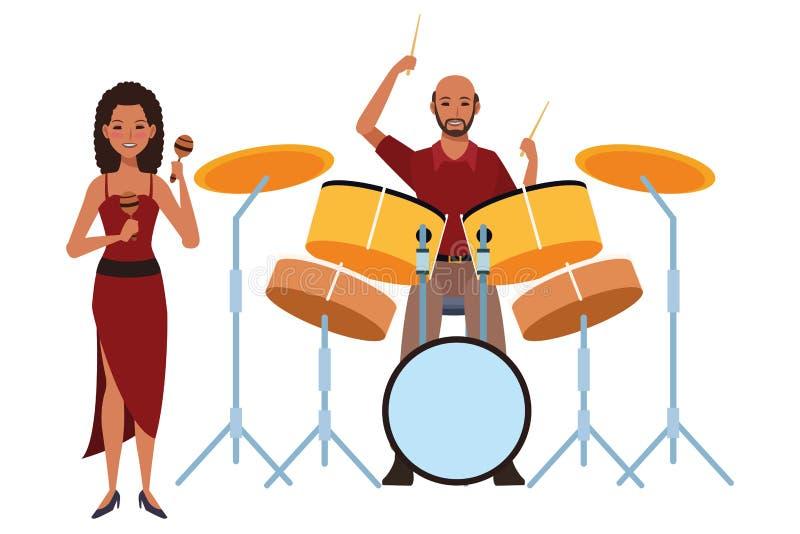 Musiker, der maracas und Trommeln spielt stock abbildung