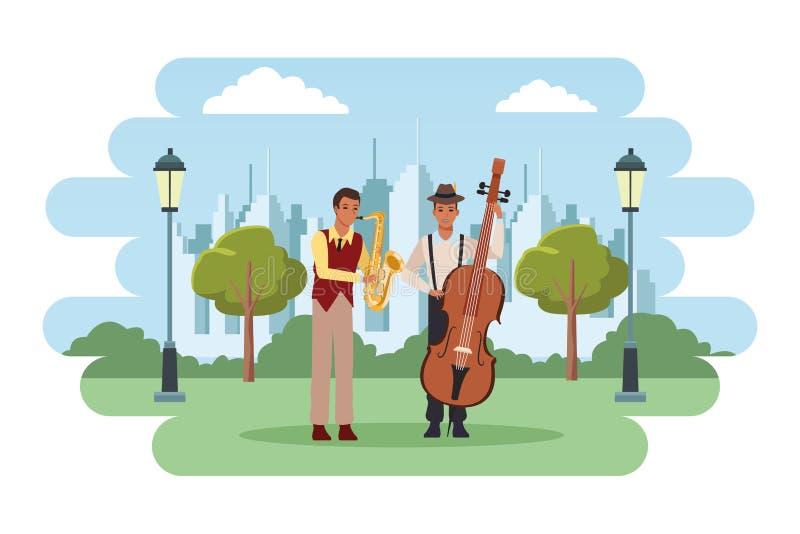 Musiker, der Saxophon und Baß spielt vektor abbildung