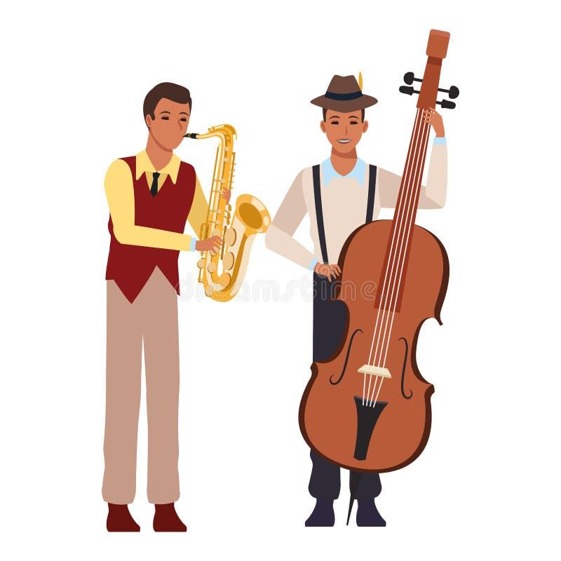 Musiker, der Saxophon und Ba? spielt lizenzfreie abbildung