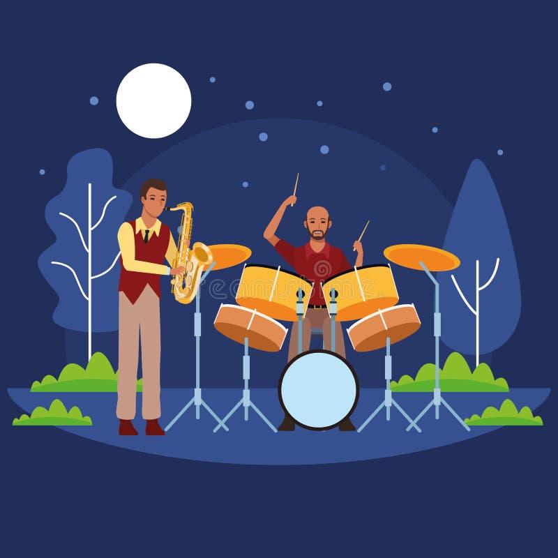 Musiker, der Saxophon und Trommeln spielt stock abbildung