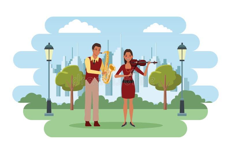 Musiker, der Saxophon und Violine spielt lizenzfreie abbildung