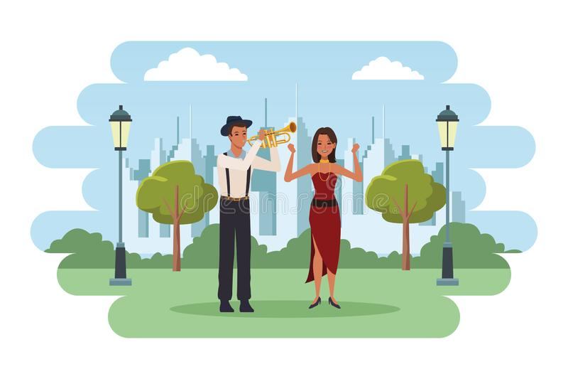 Musiker, der Trompete und das Tanzen spielt vektor abbildung
