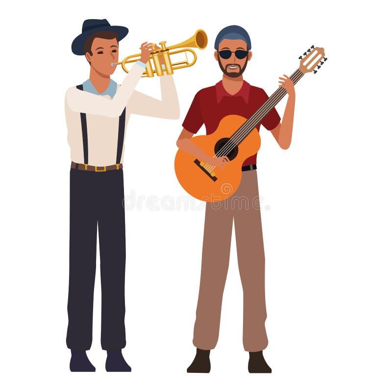 Musiker, der Trompete und Gitarre spielt stock abbildung