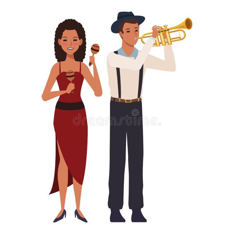 Musiker, der Trompete und maracas spielt lizenzfreie abbildung