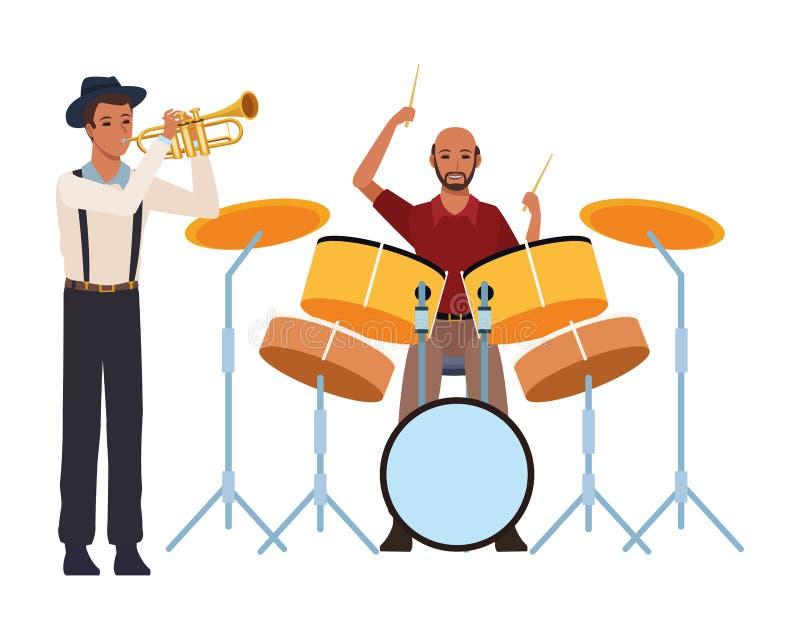 Musiker, der Trompete und Trommeln spielt vektor abbildung