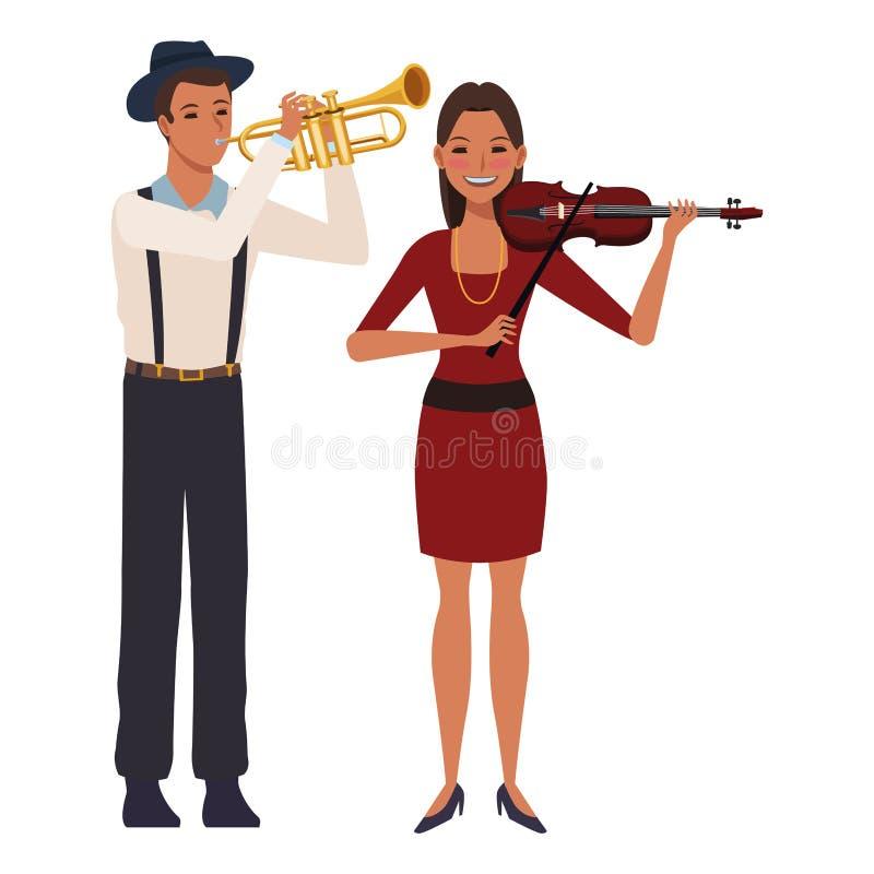 Musiker, der Trompete und Violine spielt lizenzfreie abbildung