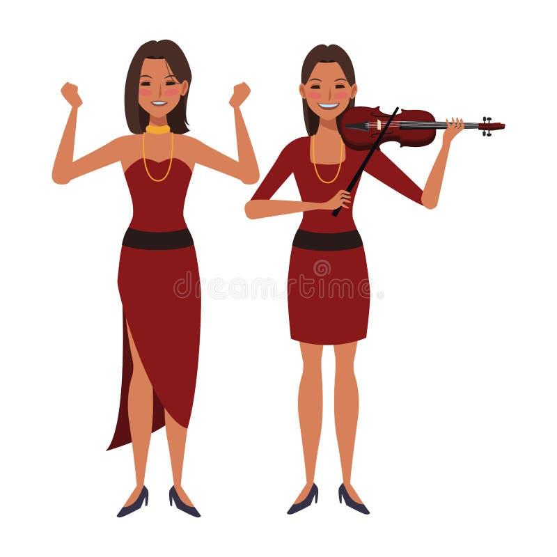 Musiker, der Violine und das Tanzen spielt lizenzfreie abbildung
