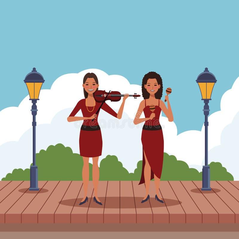 Musiker, der Violine und maracas spielt stock abbildung