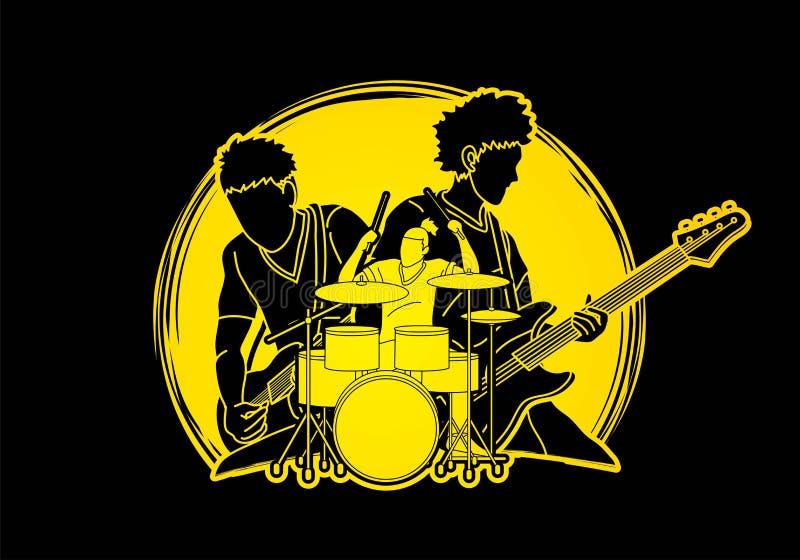 Musiker, der zusammen Musik, Musikband, Künstler spielt vektor abbildung