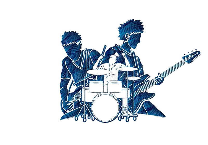 Musiker, der zusammen Musik, Musikband, Künstler spielt stock abbildung