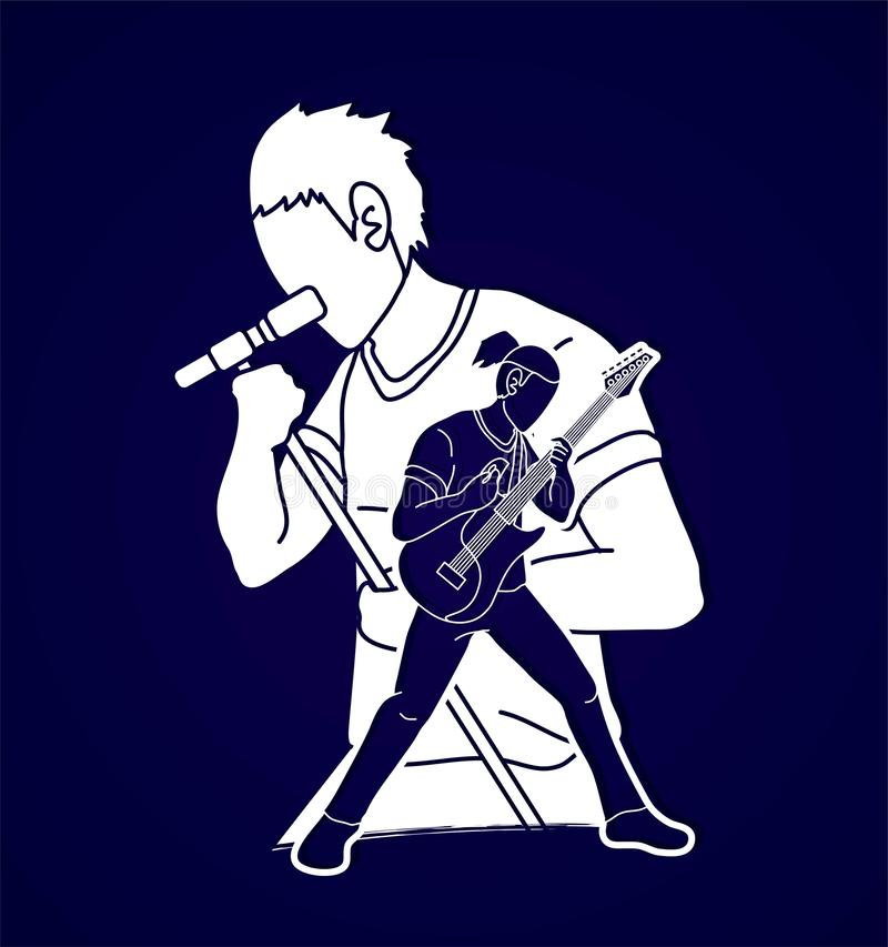 Musiker, der zusammen Musik, Musikband, Künstler spielt lizenzfreie abbildung