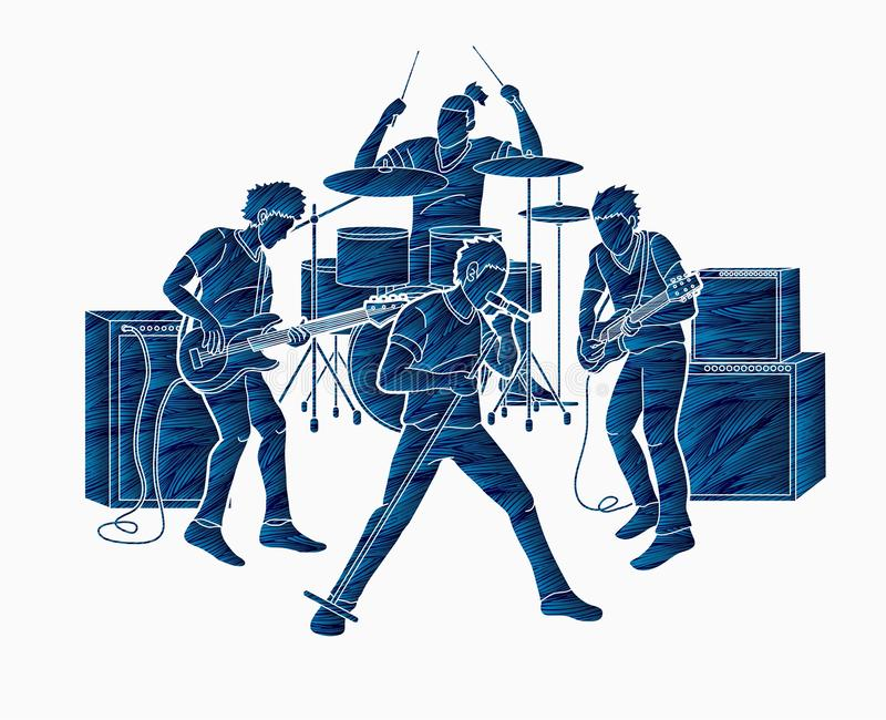Musiker, der zusammen Musik, Musikband spielt lizenzfreie abbildung