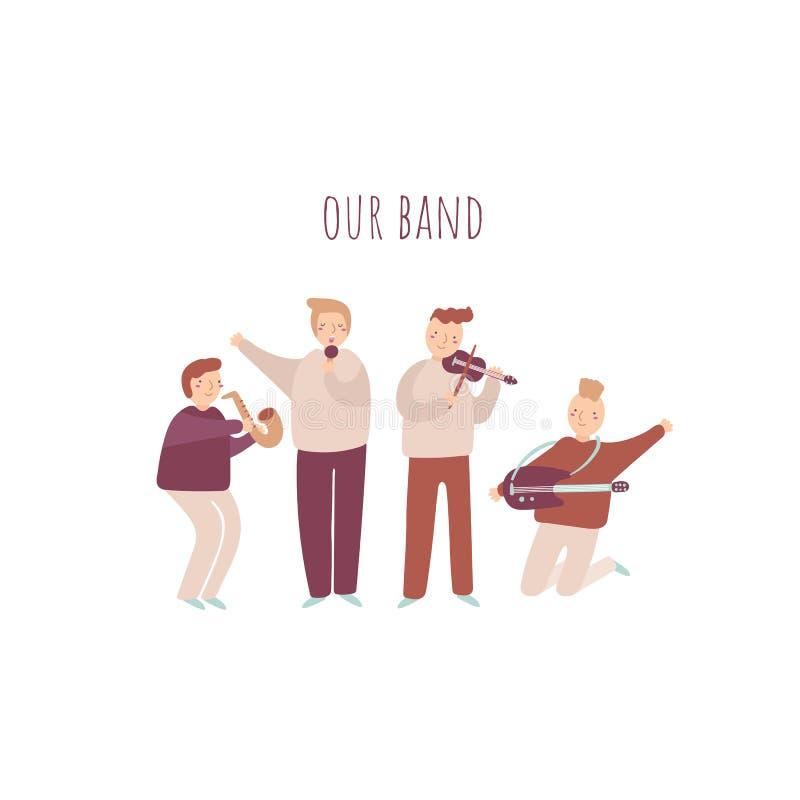 Musiker eingestellt einschließlich Saxophon, Trommeln, Gitarre, Violine und Sänger lizenzfreie abbildung