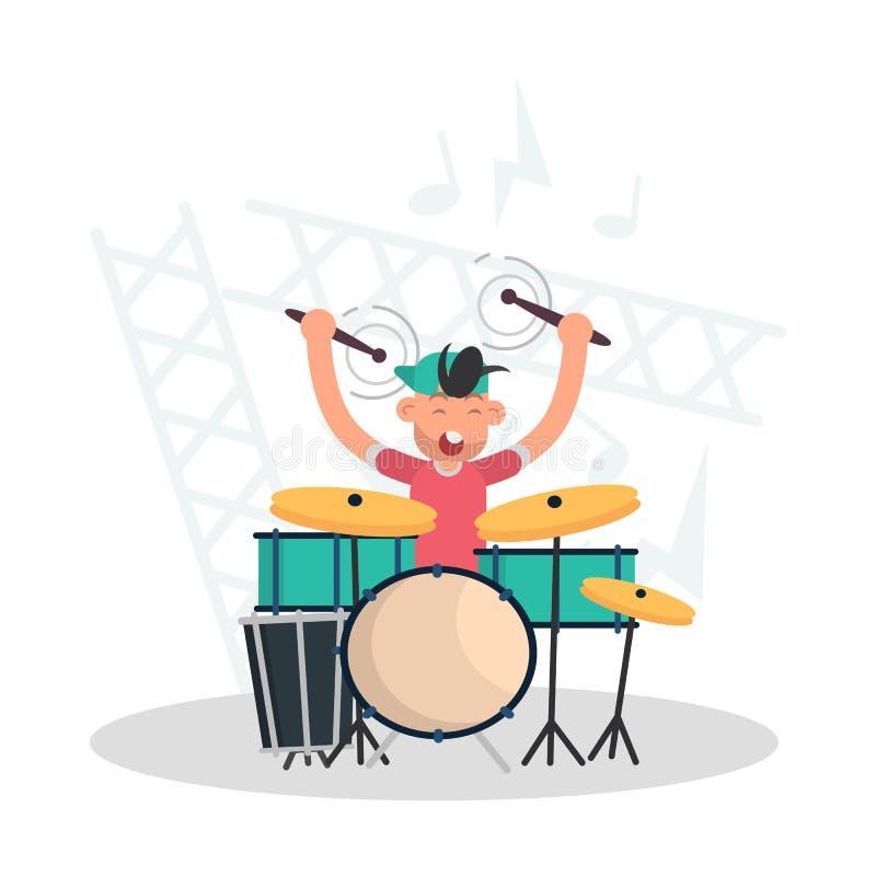 Musiker hinter der flachen Illustration der Trommel gesetzte Farb vektor abbildung