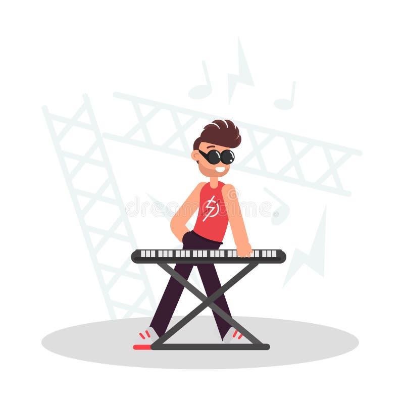Musiker hinter der synthesizerfarbflachen Illustration stock abbildung