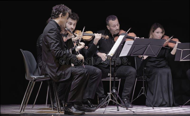 Musiker i konsert arkivfoto