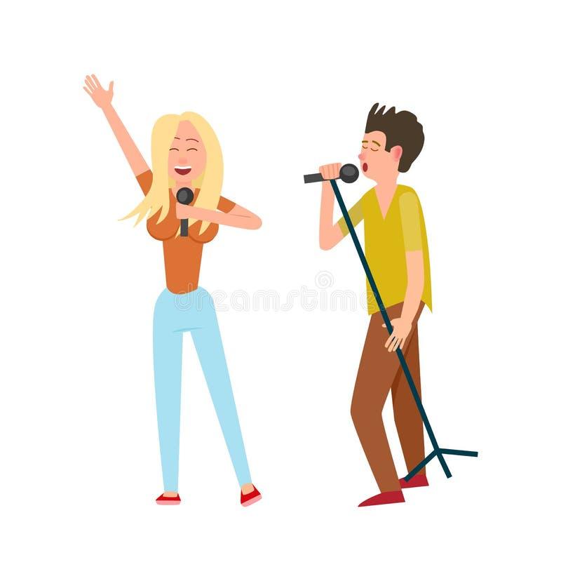 Musiker Mann und Frau, Duo zusammen singend stock abbildung