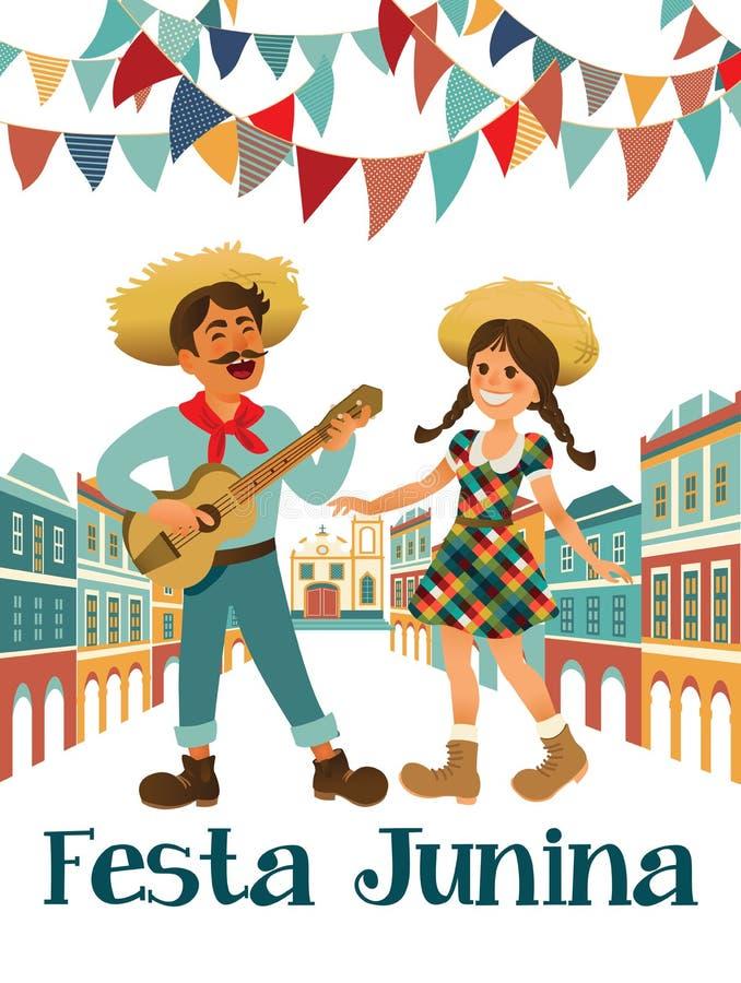 Musiker med en gitarr och en flicka Brasiliansk ferie Festa Junina Juni parti royaltyfri illustrationer