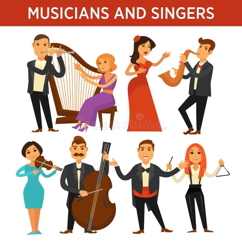 Musiker med instrumentet och eleganta sångareillustrationer ställde in vektor illustrationer