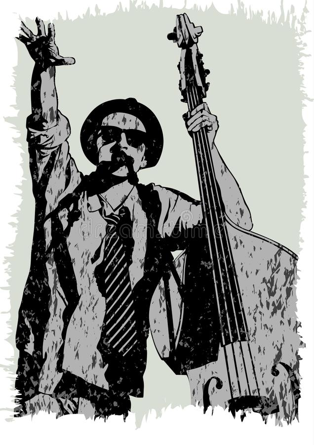 Musiker mit Baß drei stock abbildung