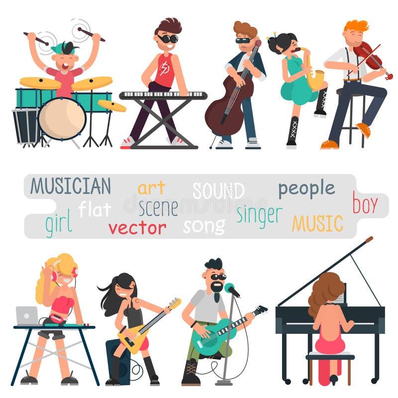 Musiker mit ihren Musikinstrumenten eingestellt Farbvektorillustrationen stock abbildung