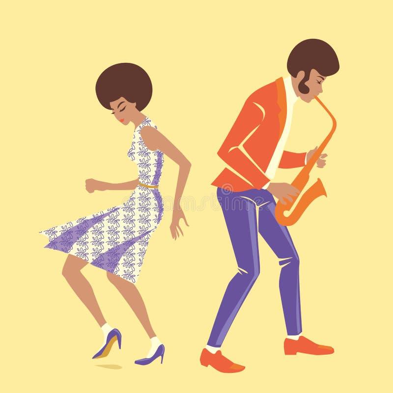 Musiker och en dansare i retro stil stock illustrationer