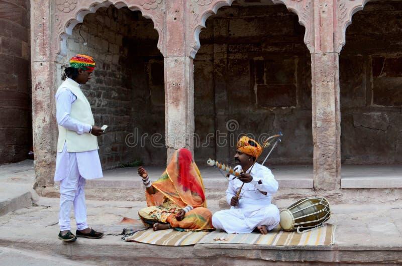 Musiker på det Meherangarh fortet, Jodhpur, Indien arkivfoton
